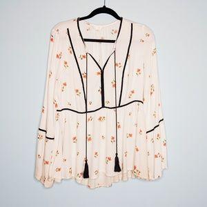 Lauren Conrad LC Floral Tassle Tunic